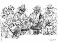 Drawing: Drummers of the Tuamotu Islands, French Polynesia