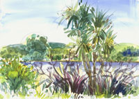 St. Anne's Lagoon, Cheviot, New Zealand, watercolour