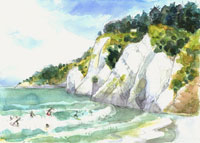 Gore Bay Beach with Surfers, New Zealand, watercolour