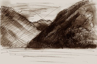 Drawing and print of Nelson Lakes, Rotoiti, New Zealand