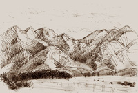 Drawing and print of a Waiau Farm, South Island, New Zealand