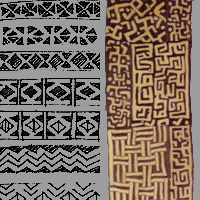 Left: Polynesian pattern for carving. Right: Textile from Central Africa